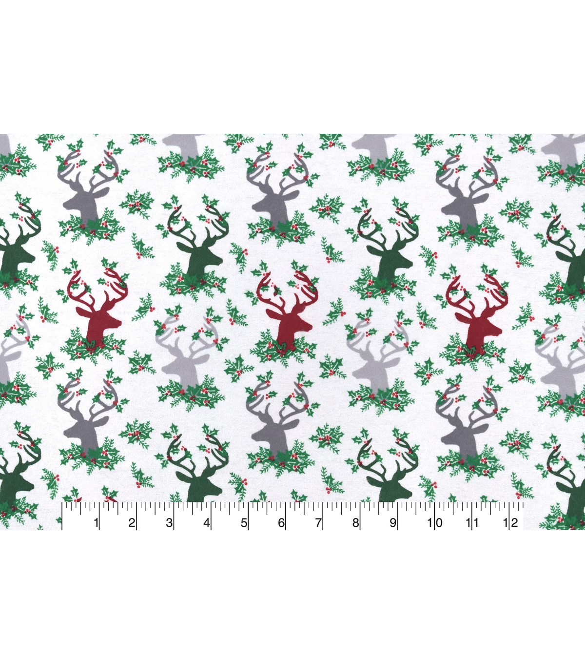 Snuggle Flannel Fabric 42\u0022-Holiday Stag Heads