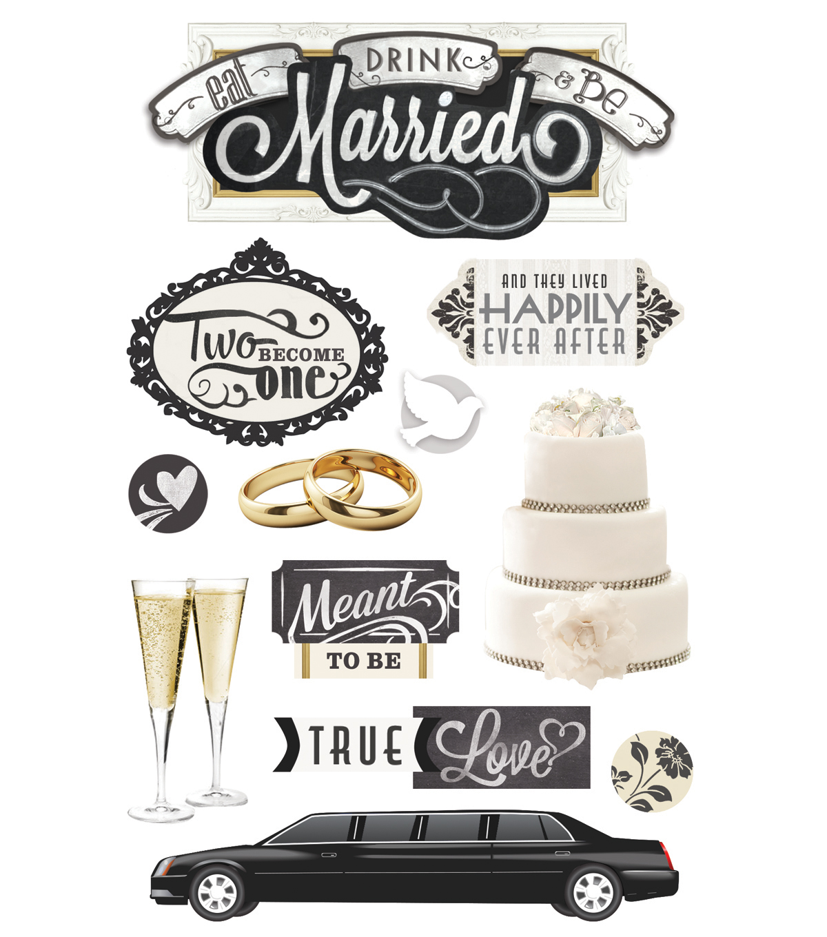 Paper House® 3D Stickers-Eat, Drink & Be Married
