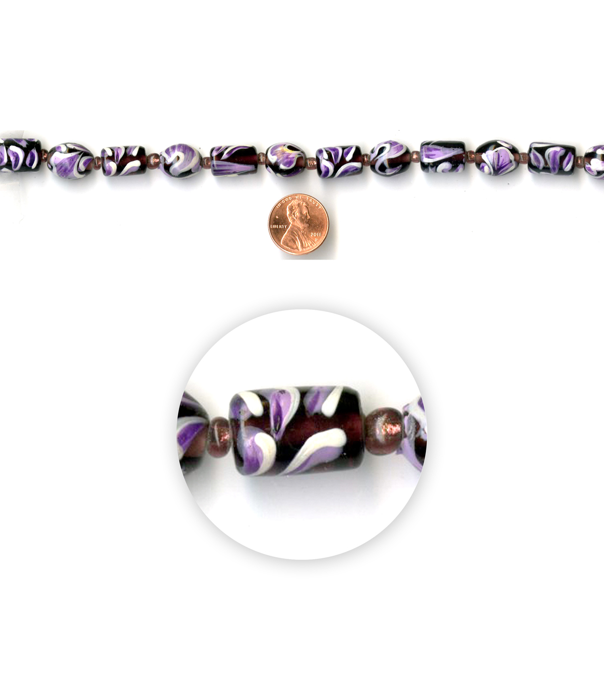 Blue Moon Strung Handpainted Glass Beads,Cylinder & Round,Purple w/White