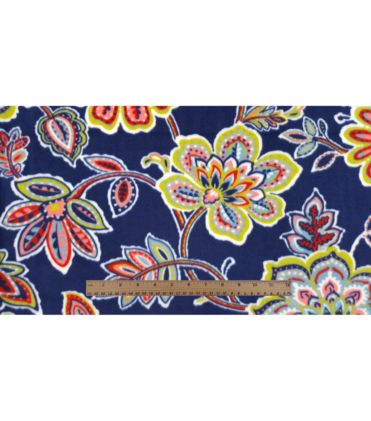 Anti-Pill Fleece Fabric 59\u0022-Juliette Floral On Navy