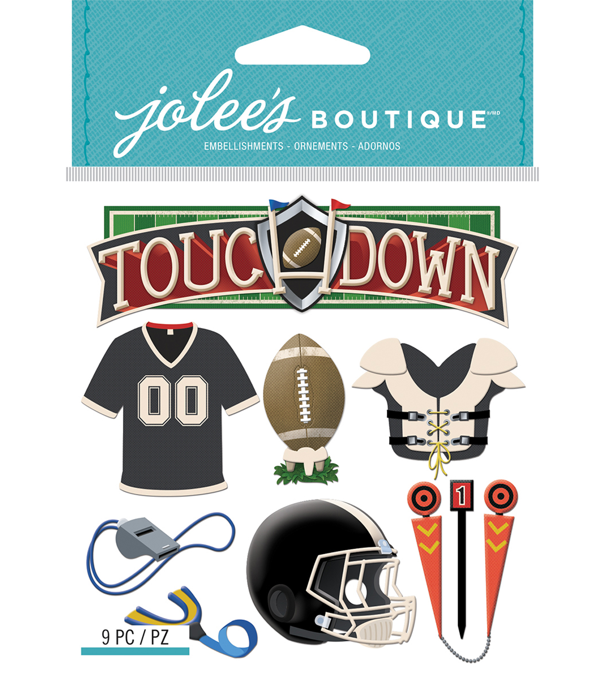 Jolee\u0027s Boutique Dimensional Stickers-Football