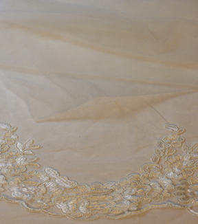Bridal Inspirations™ Floral Lace Veil Fabric 53''-Eggnog