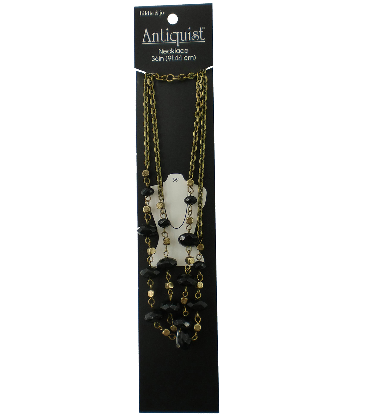 hildie & jo™ Antiquist 36\u0027\u0027 Antique Gold Necklace-Black/Gold Beads