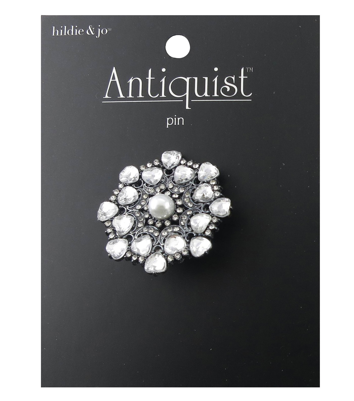 hildie & jo™ Antiquist Circle Silver Pin-Pearl & Clear Crystals