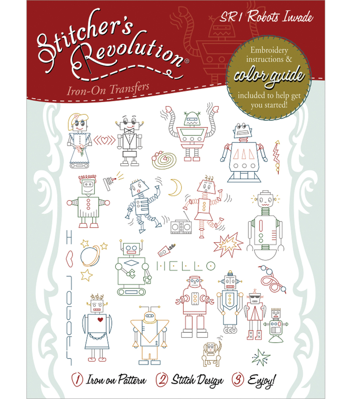Aunt Martha's Sticher's Revolution Iron-On Transfers-Robots Invade