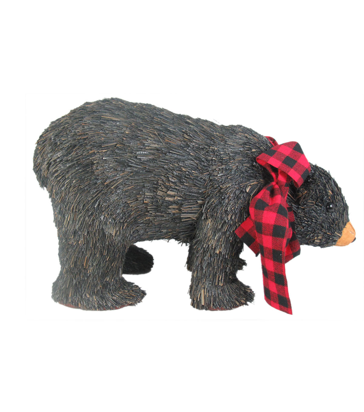 Maker\u0027s Holiday Christmas Small Sisal Bear with Plaid Scarf-Black