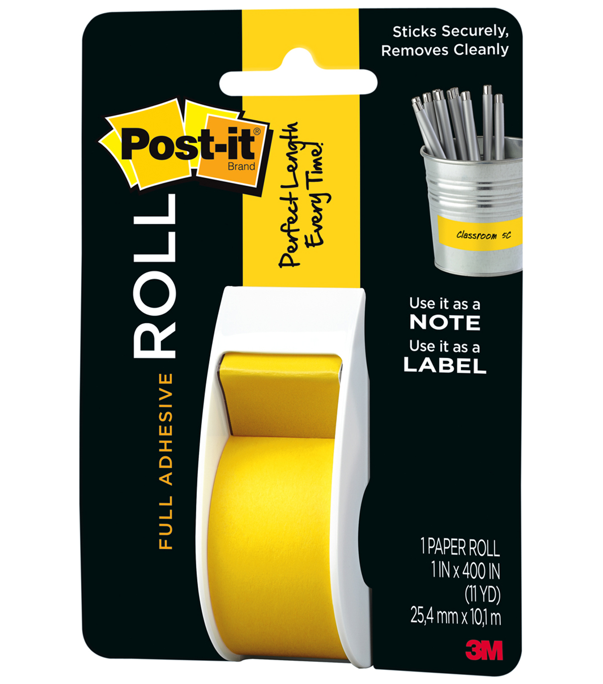 "Post-It Full Adhesive Roll 1""X400""-Yellow"