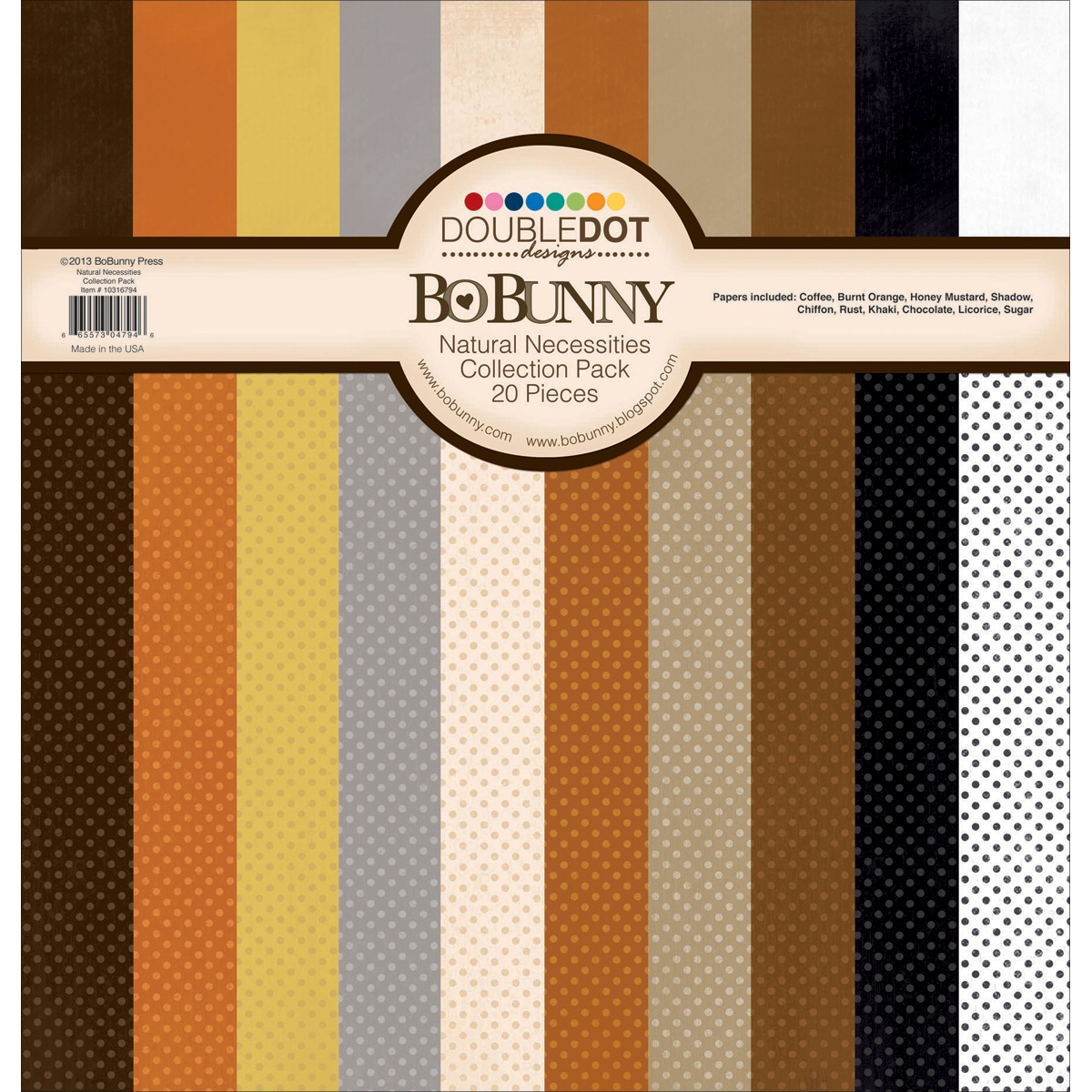 Bo Bunny Double Dot Natural Necessities Cardstock Collection Pack