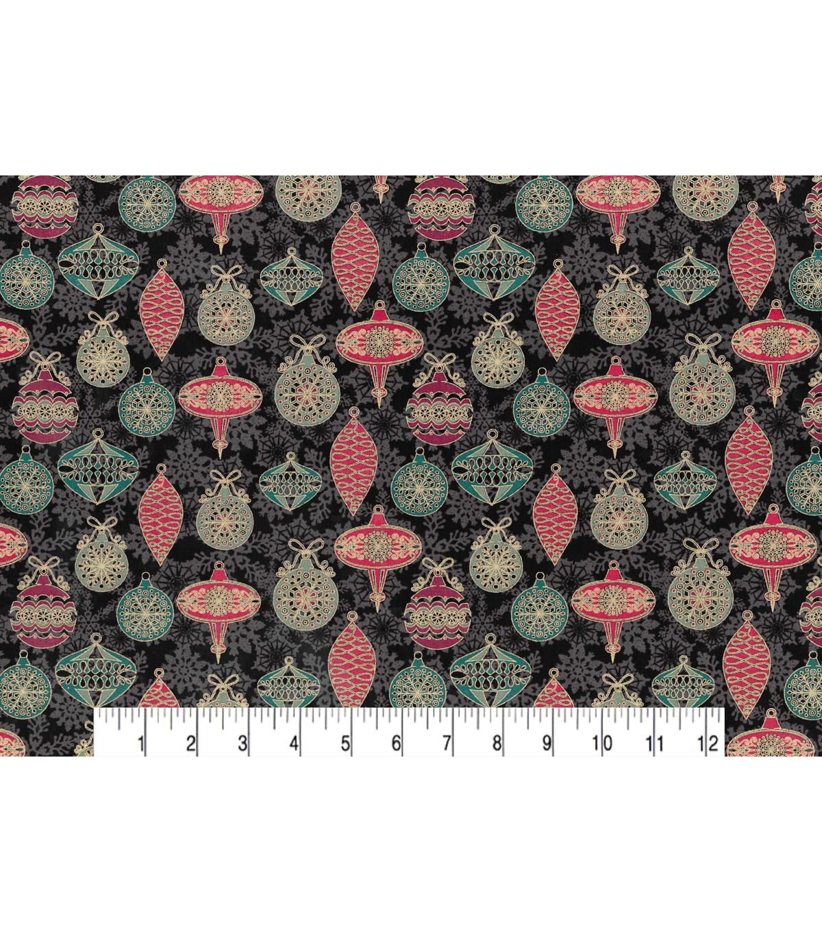 Maker\u0027s Holiday Cotton Fabric 43\u0022-Ornaments and Snowflakes
