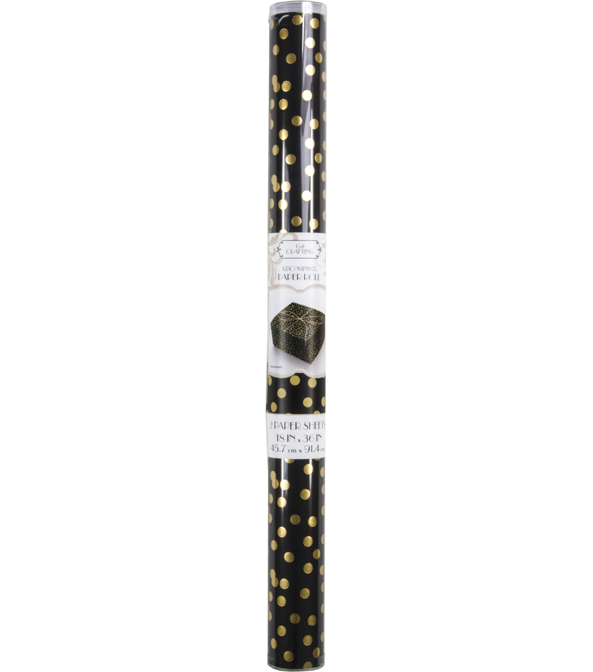 K&Company Black And Gold Dot Paper Roll