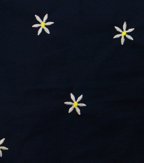 Embroidered Cotton Fabric-Navy Daisy