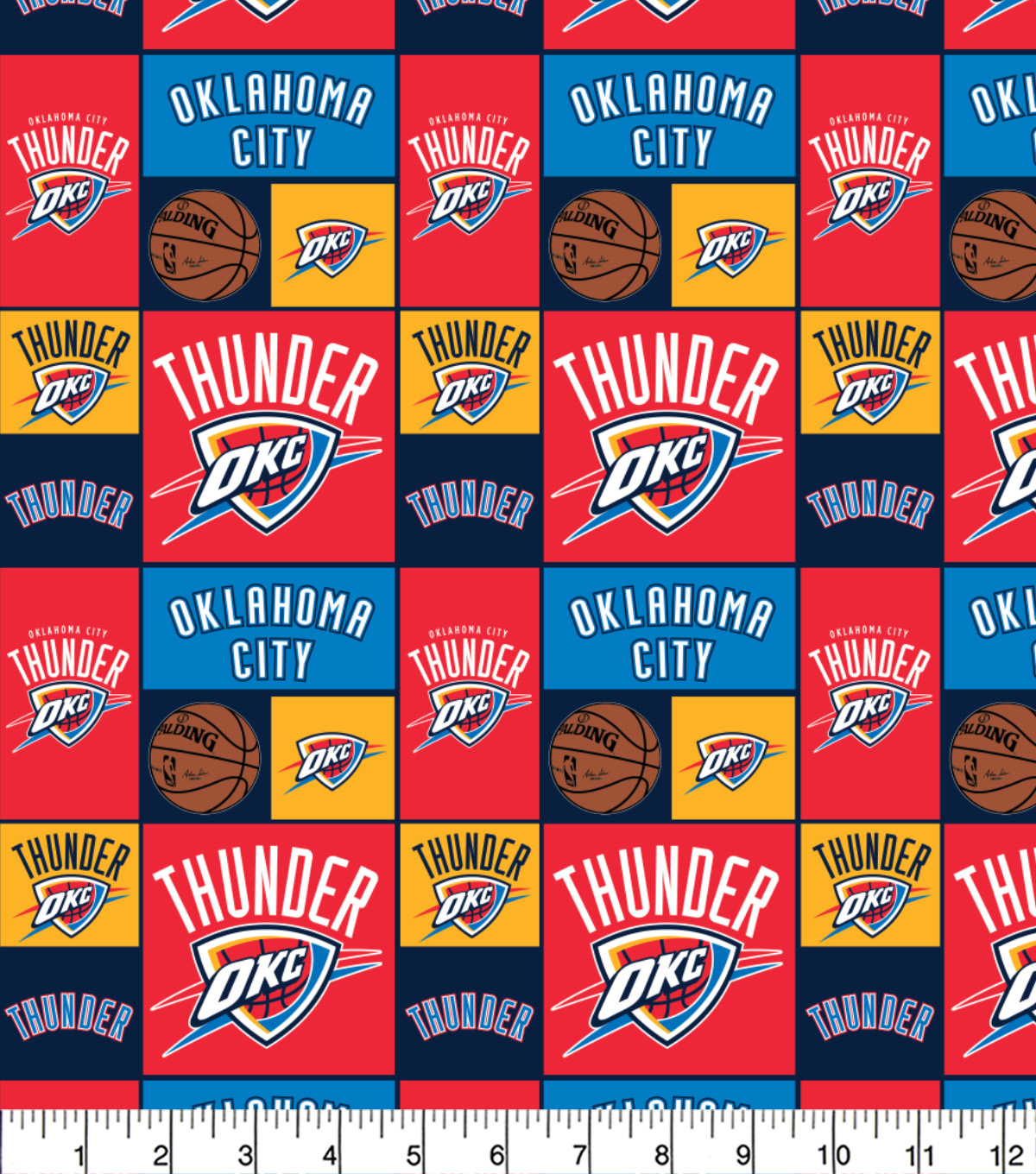 Oklahoma City Thunder Cotton Fabric 44\u0022-Patch