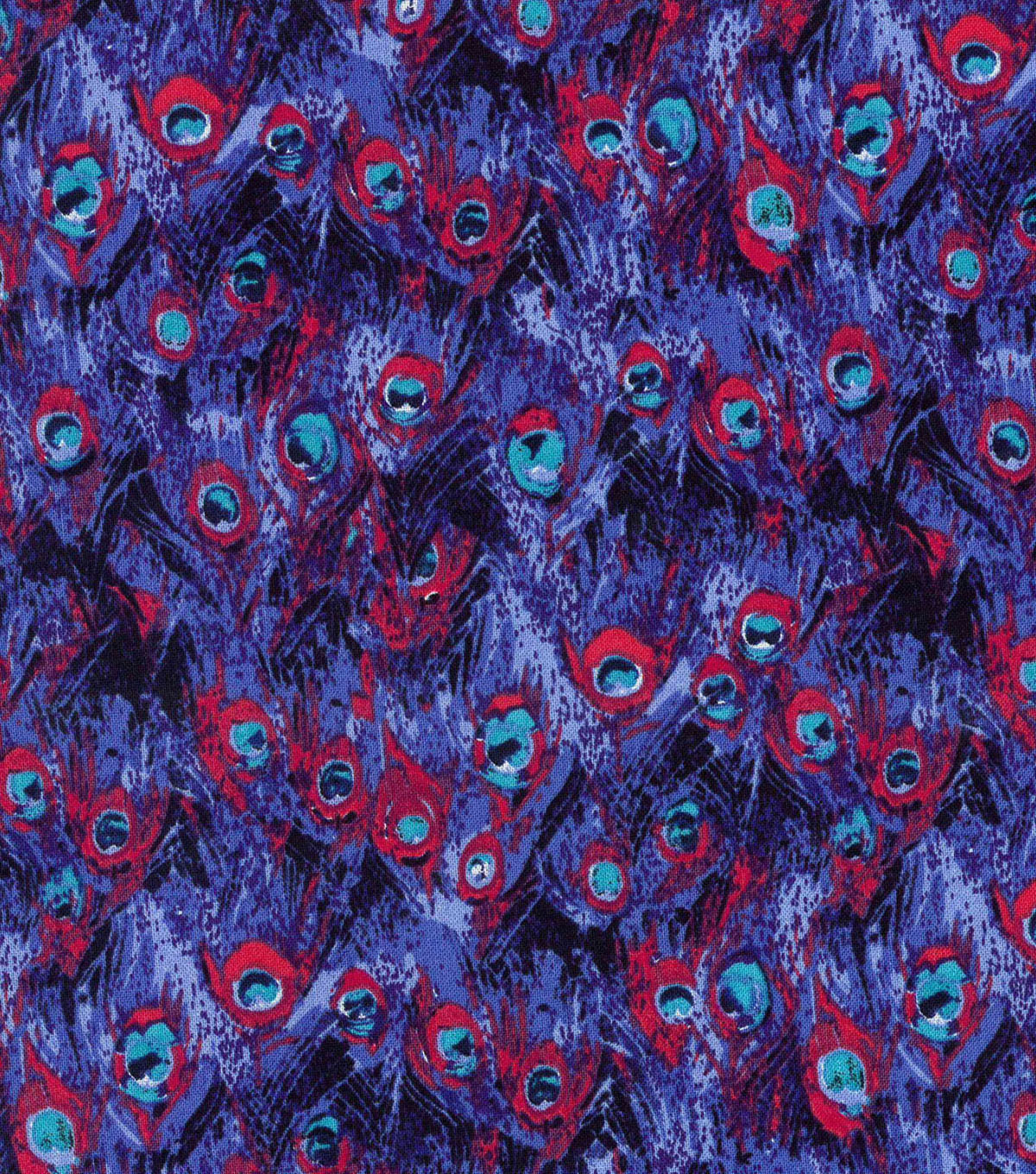 "Modern Cotton Fabric 43""-Packed Peacock Feathers"