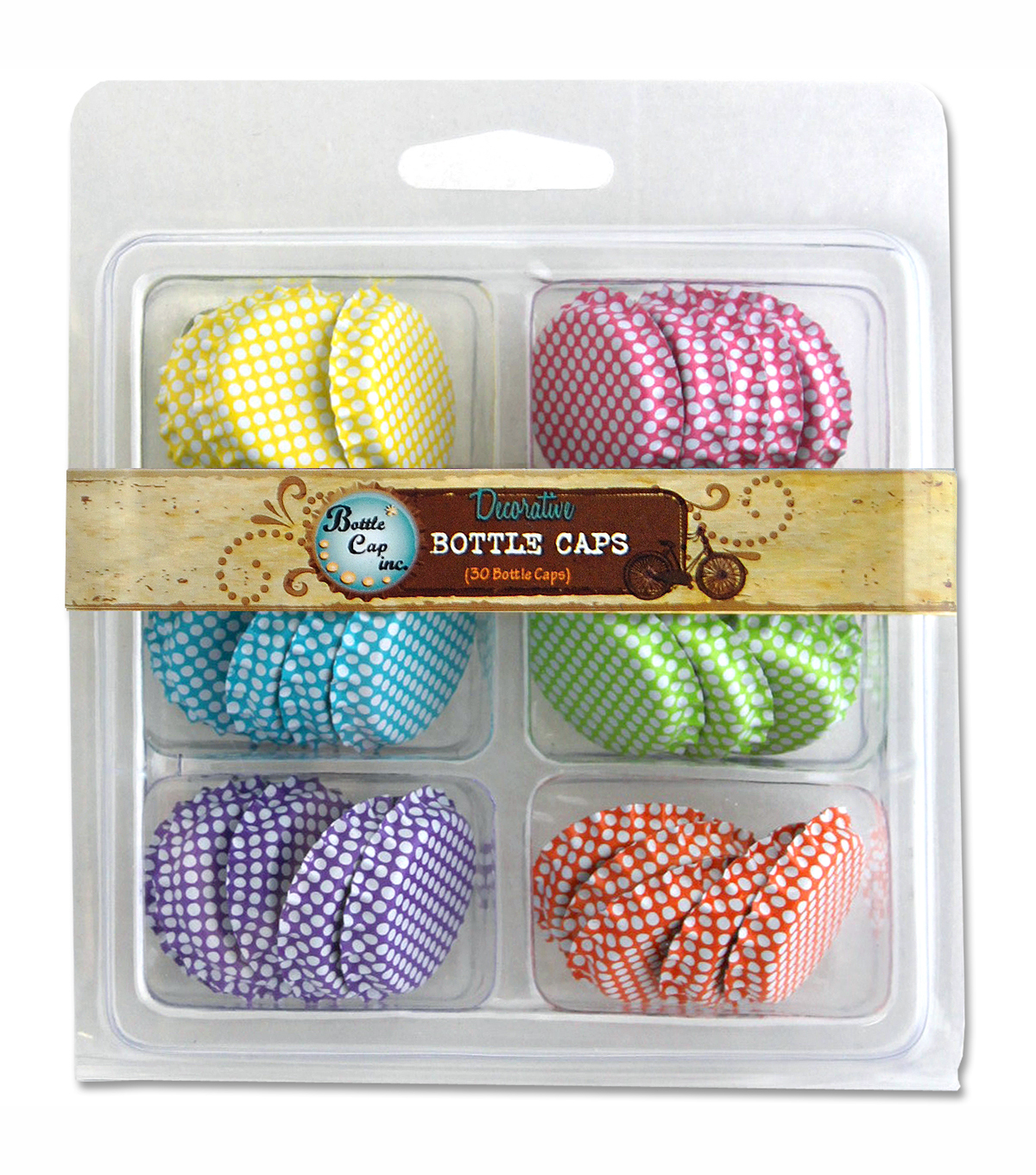 "Vintage Collection Double Sided Bottle Caps 1"" 30/Pkg-Polka Dots"