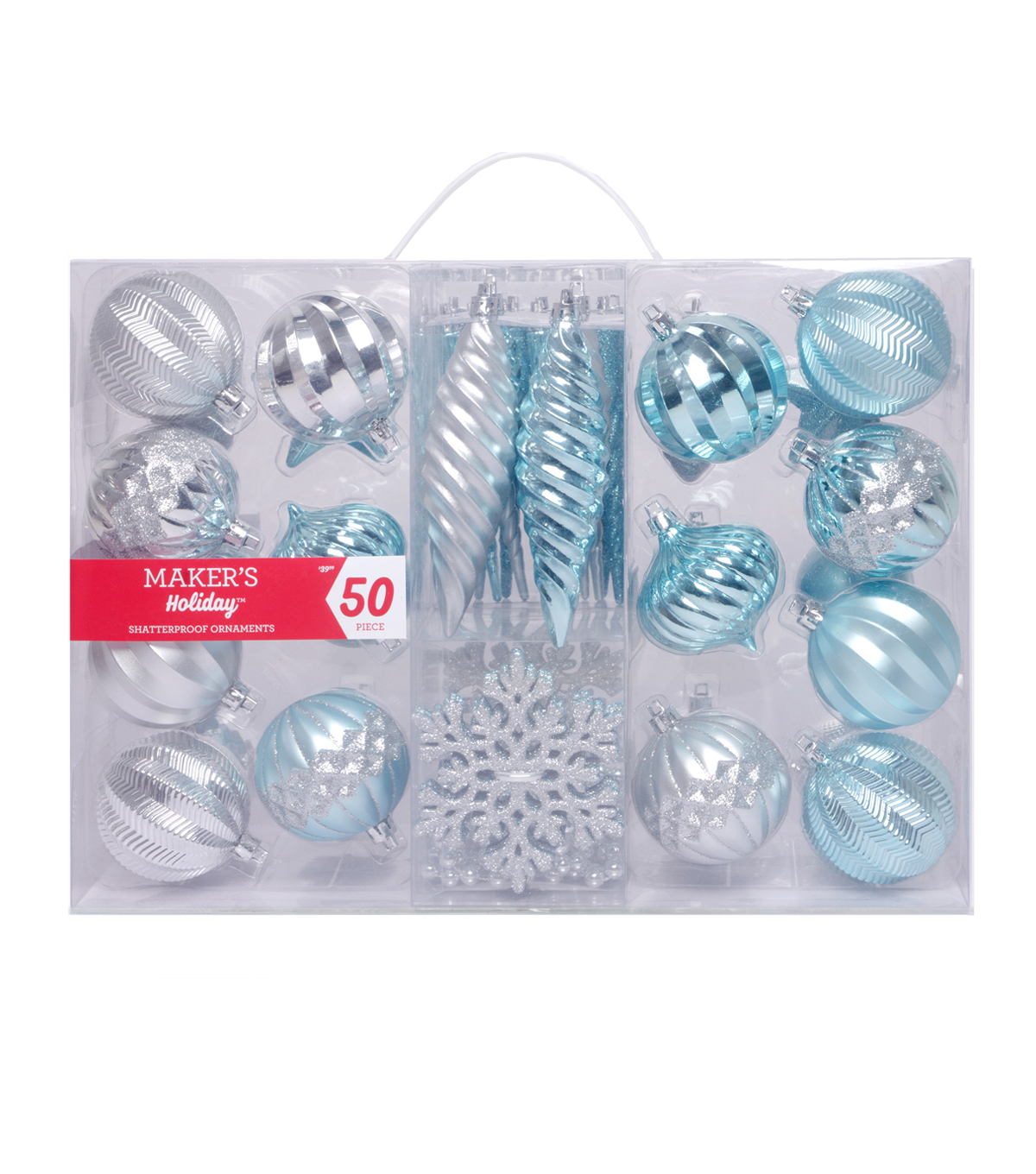 Maker\u0027s Holiday Arctic Frost 50 pk Shatterproof Ornaments-Blue & Silver