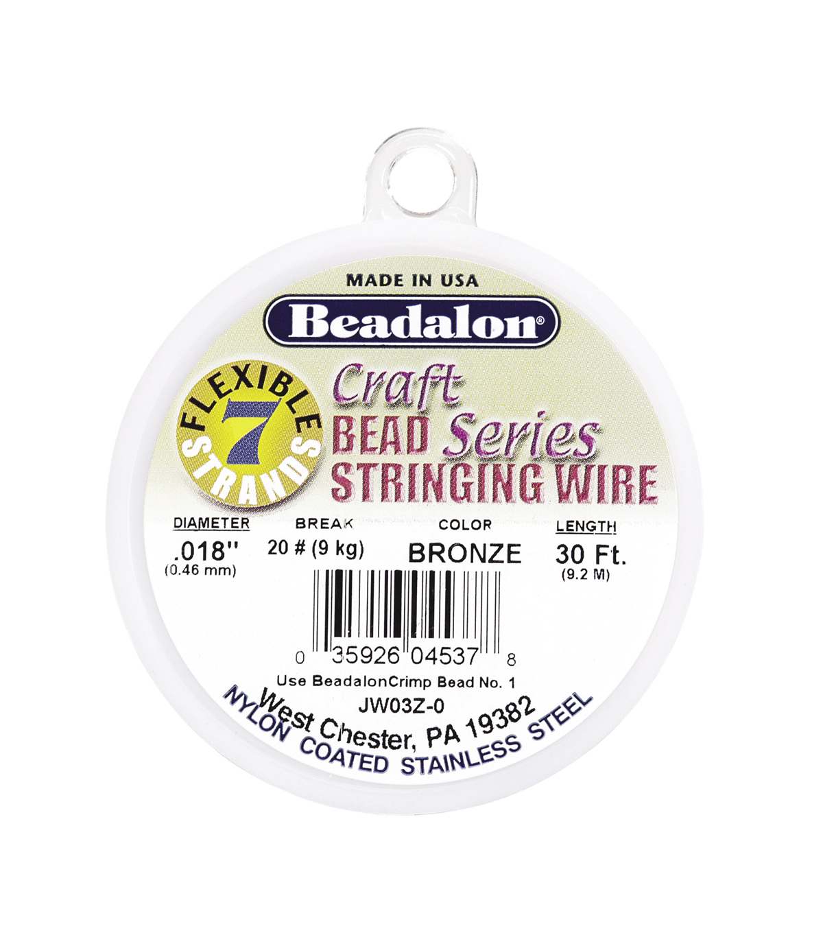 Beadalon 7-Strand Nylon Coated Stainless Steel Beading Wire, Bronze, 30 ft.
