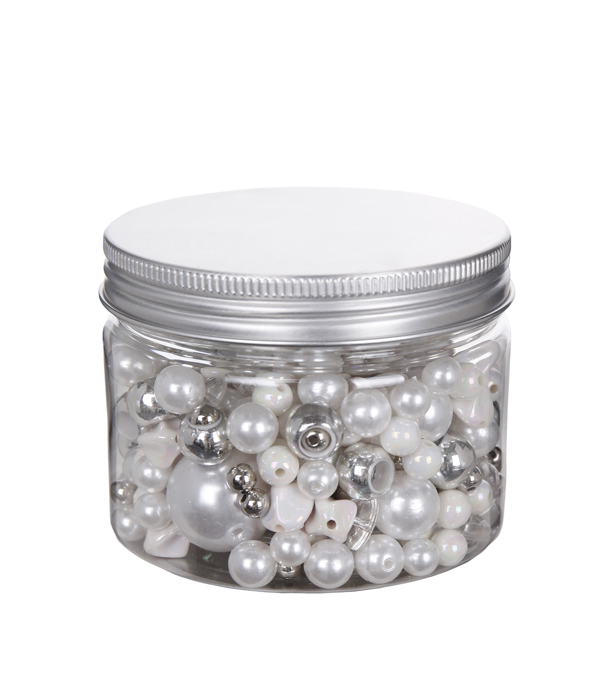 hildie & jo™ Assorted Fashion Beads in Plastic Jar-White & Silver
