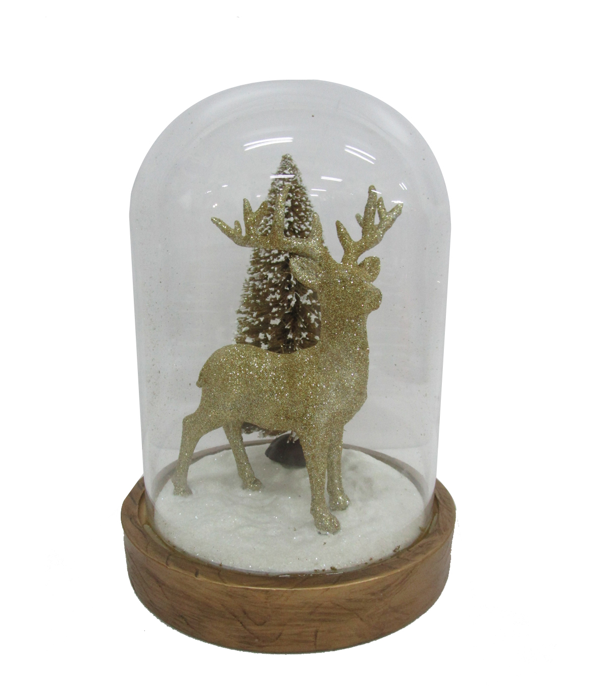 Maker\u0027s Holiday Christmas Arctic Frost Deer & Tree Cloche