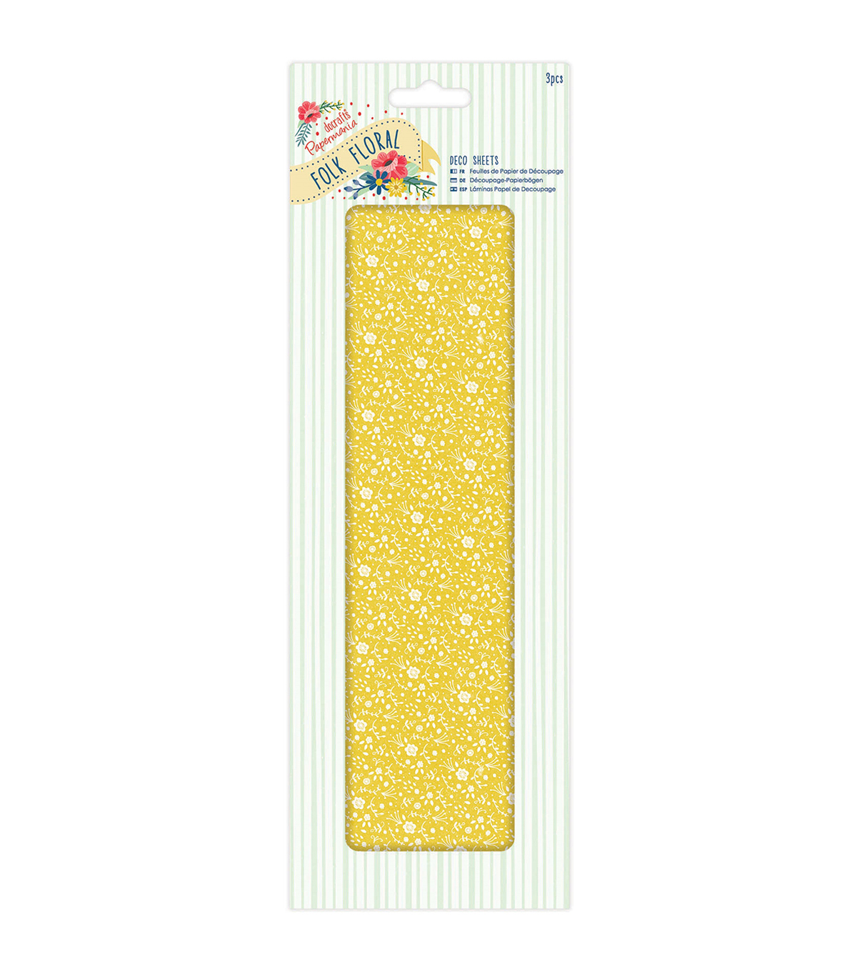 Papermania Folk Floral 3ct Deco Sheets-Yellow Floral