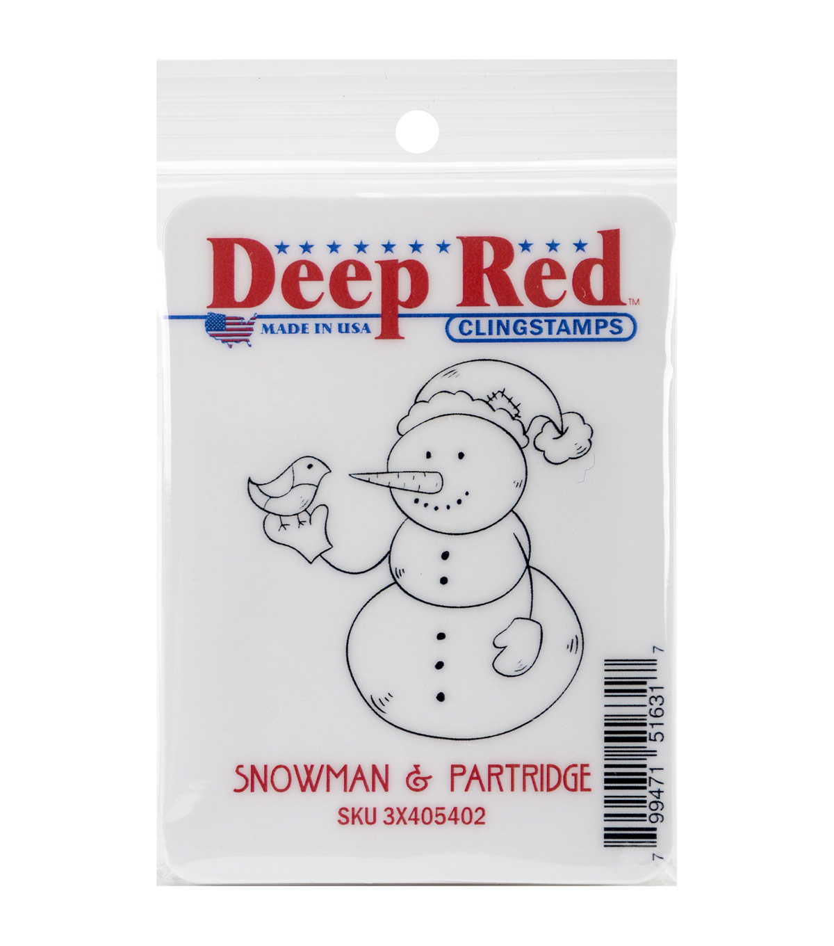 Deep Red Stamps Cling Stamp-Snowman & Partridge