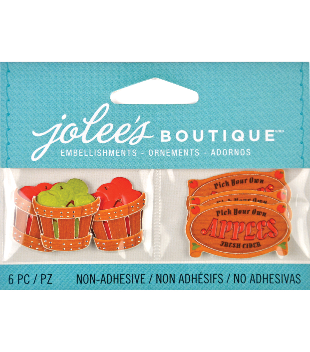 Jolee\u0027s Harvest Embellishments 6/Pkg Apple Picking