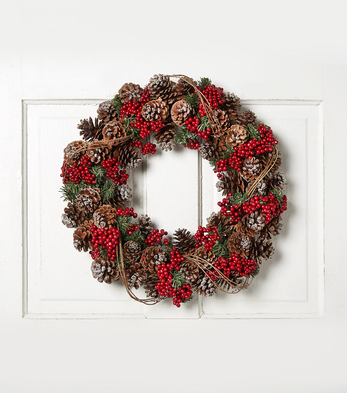 Blooming Holiday 20\u0027\u0027 Pinecone U0026 Grapevine Wreath