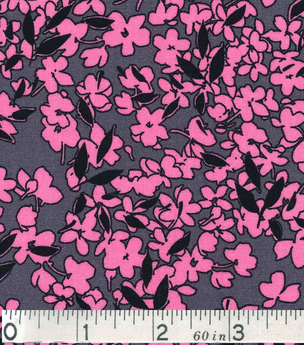 Keepsake Calico Fabric - Pink Floral On Gray