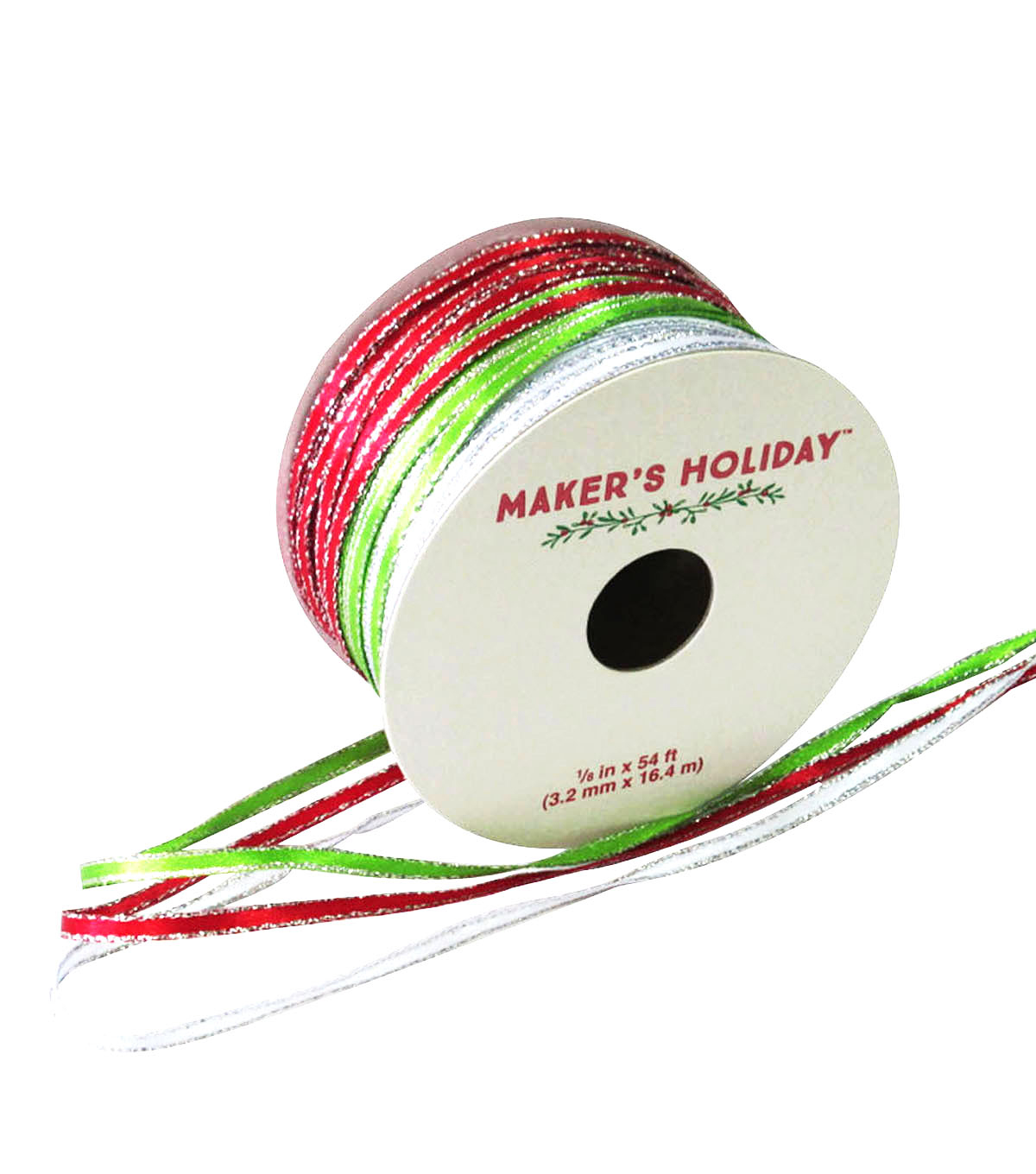 Maker\u0027s Holiday Satin Ribbon 1/8\u0027\u0027x54\u0027-Red Green Silver