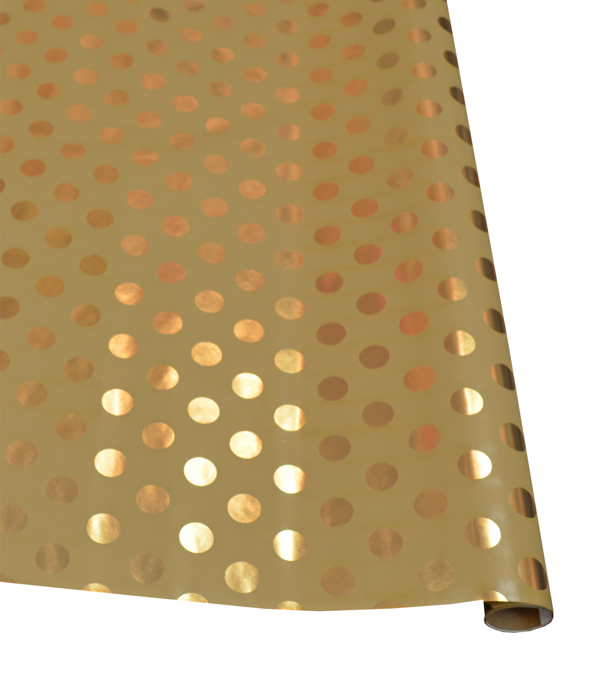 Holiday Cheer Gift Wrap Gold Dot On Kraft Giftwrap