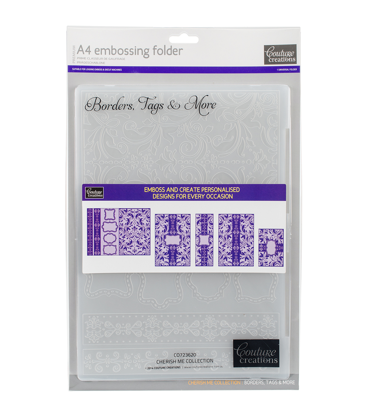 Couture Creations A4 Embossing Folder-Borders, Tags & More