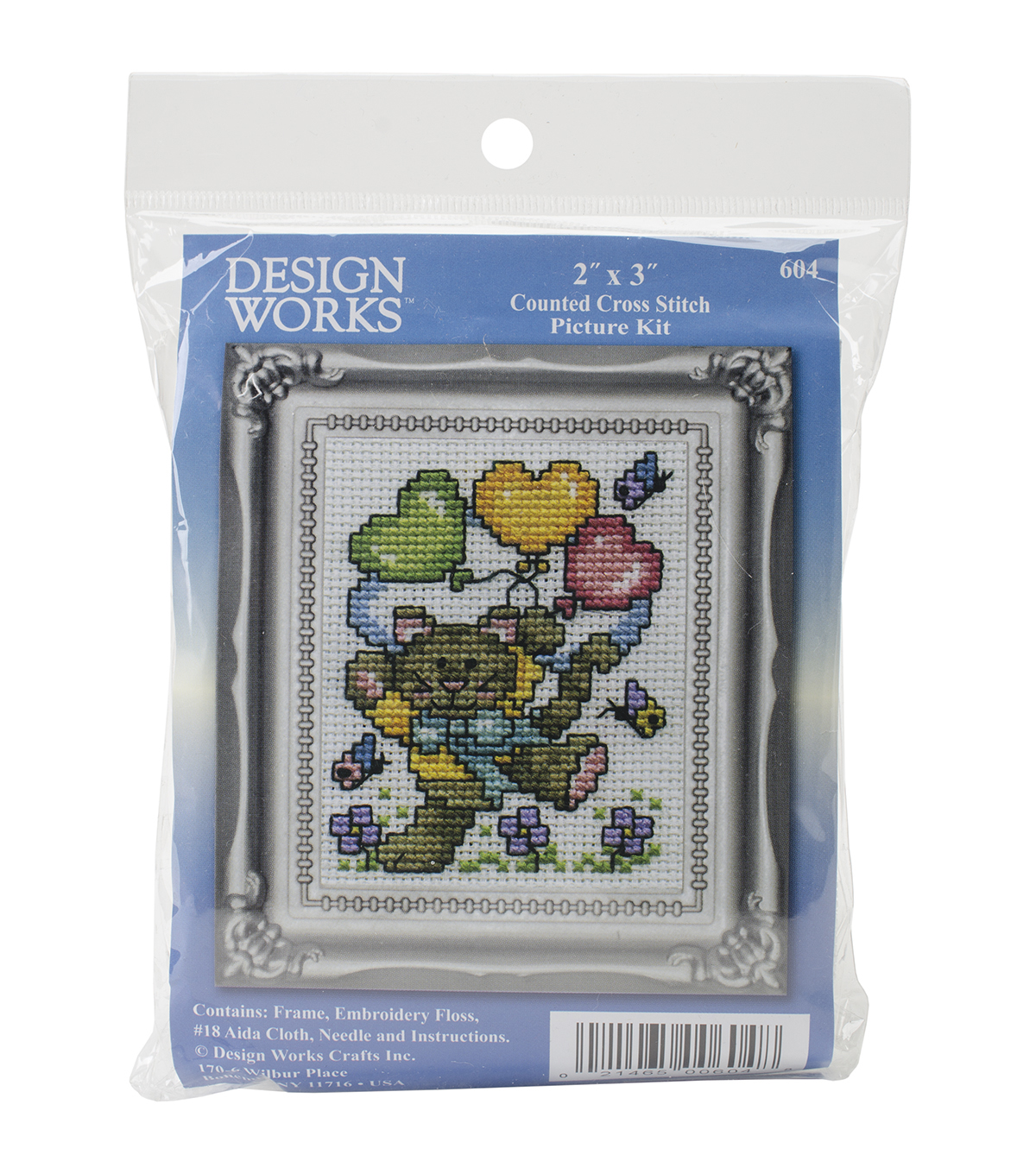 Design Works Balloon Cat Counted Cross Stitch Kit
