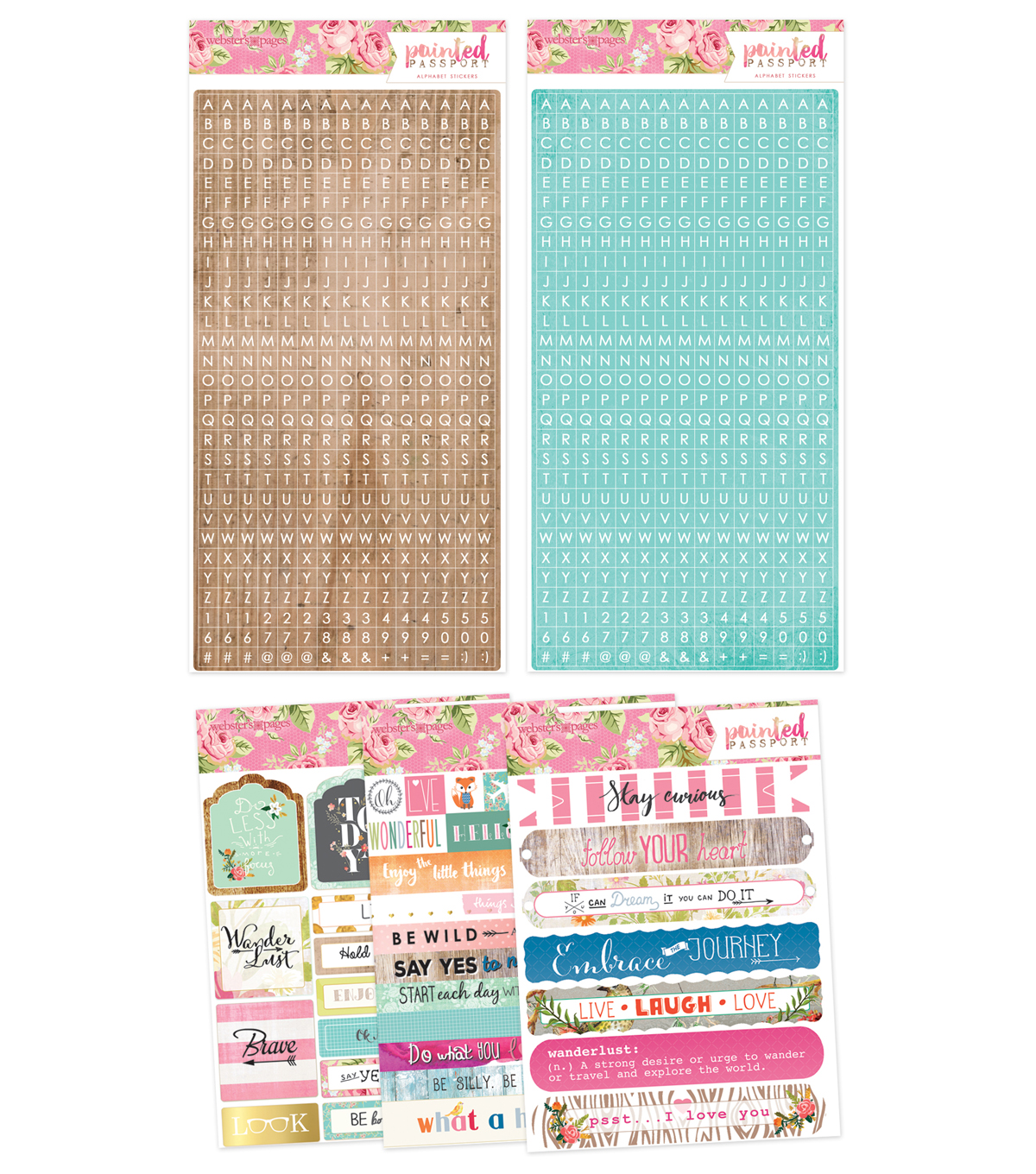 Webster\u0027s Pages Painted Passport 5 Pack Sticker Pad Set