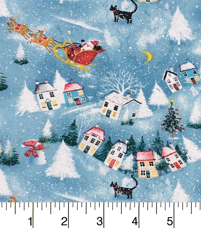 Keepsake Calico Christmas Cotton Holiday Fabric-Santa Scenic Glitter