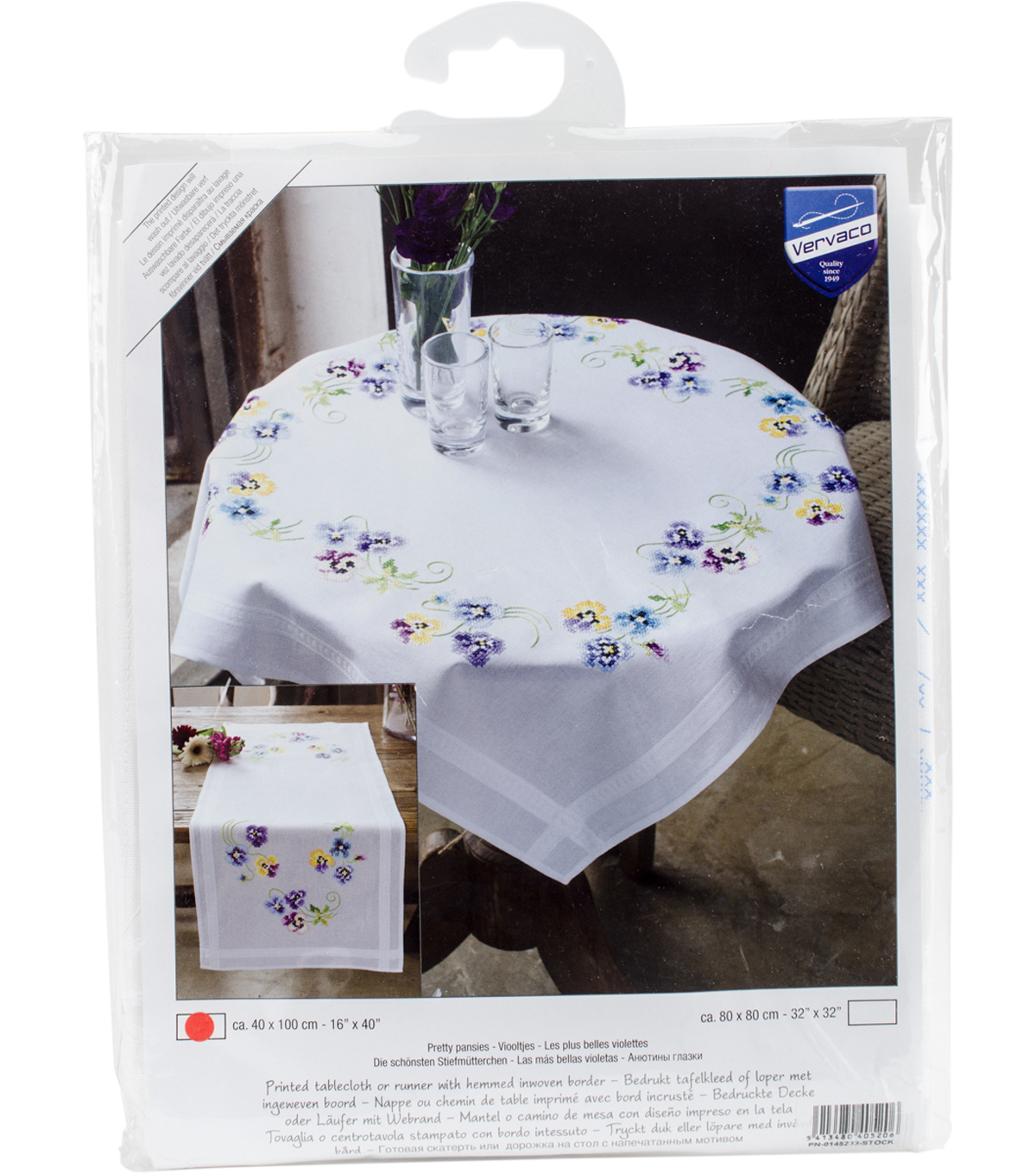 "Pretty Pansies Table Runner Stamped Embroidery Kit-16""X40"""