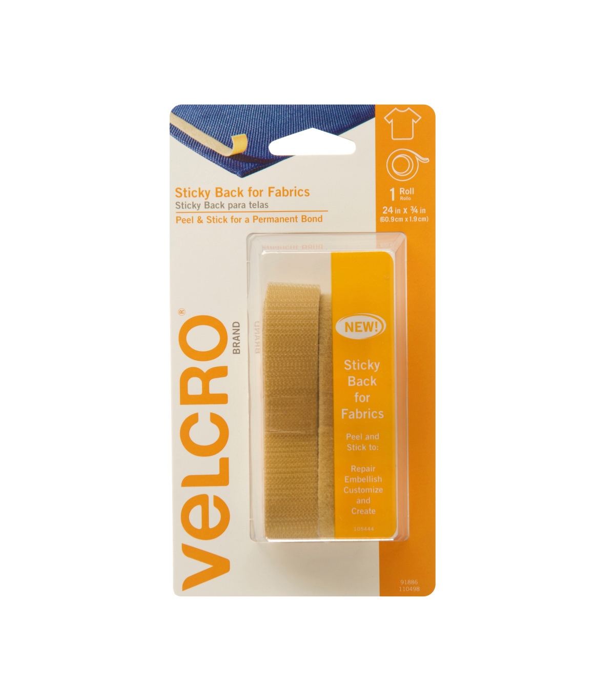 VELCRO® Brand Sticky Back for Fabrics, 24in x 3/4in tape, beige
