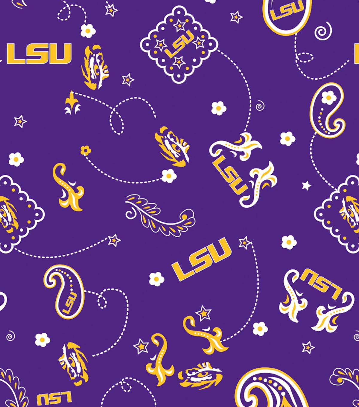 Louisiana State University Tigers Cotton Fabric 44\u0022-Bandana