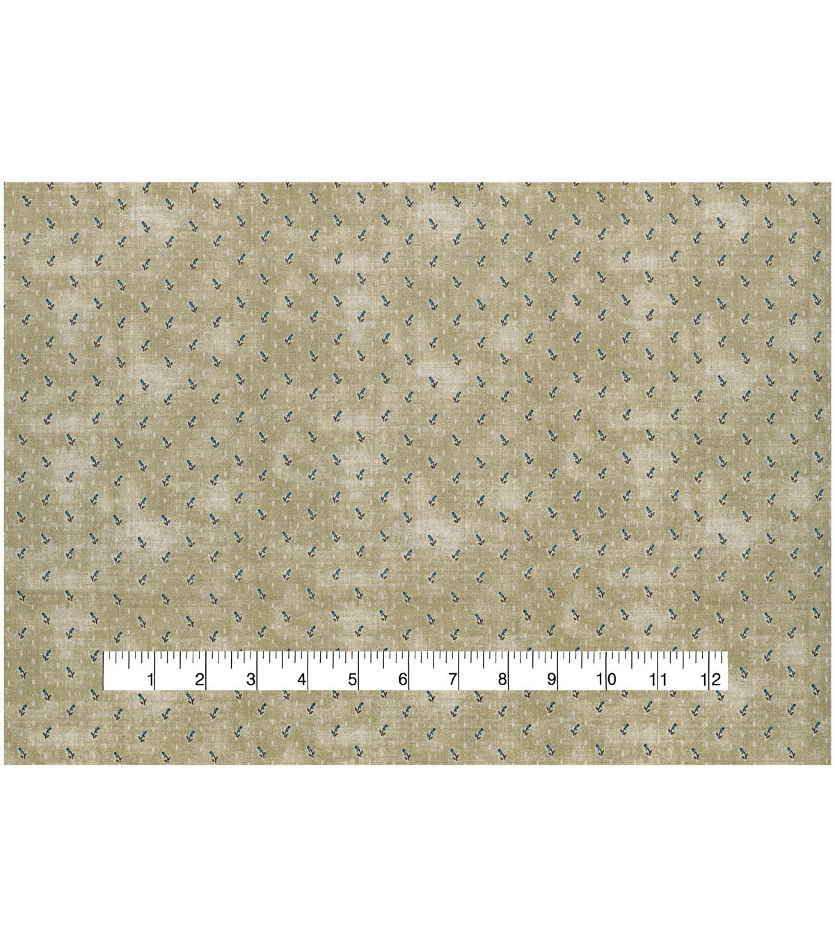 Vintage Cotton Fabric 43\u0022-Raindrop Floral Tan