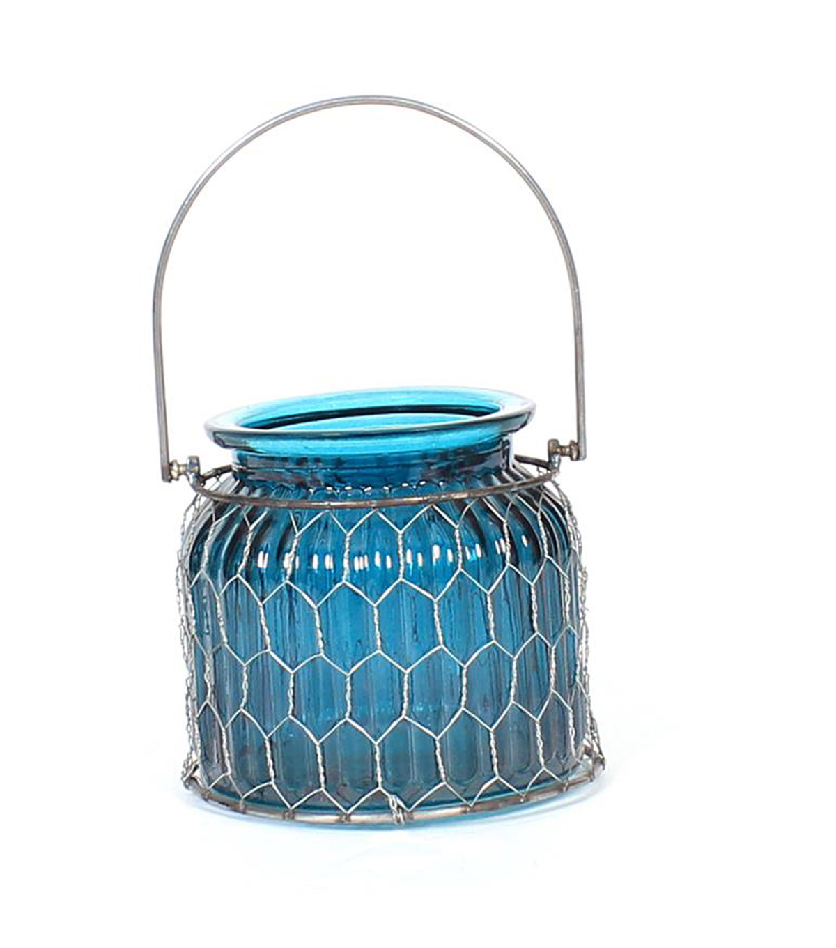 Fall Into Color Small Glass & Metal Candle Holder-Turquoise