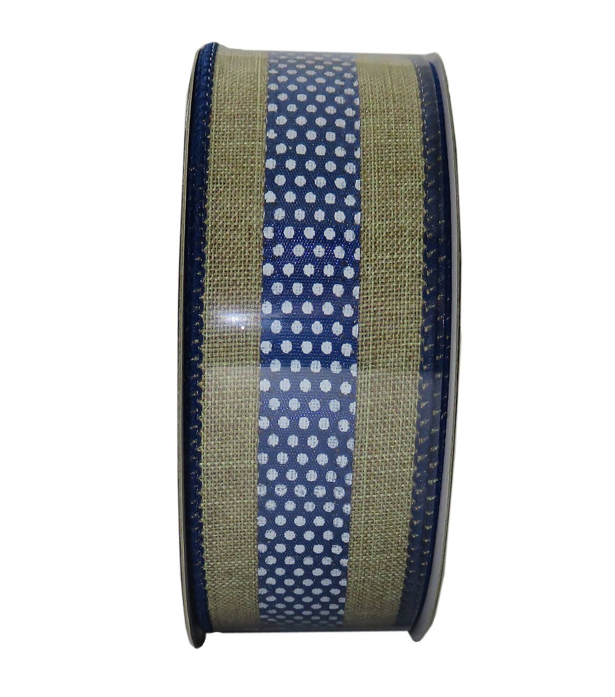 Decorative Ribbon 1.5\u0027\u0027 X 15\u0027-Indigo Dot Stripe