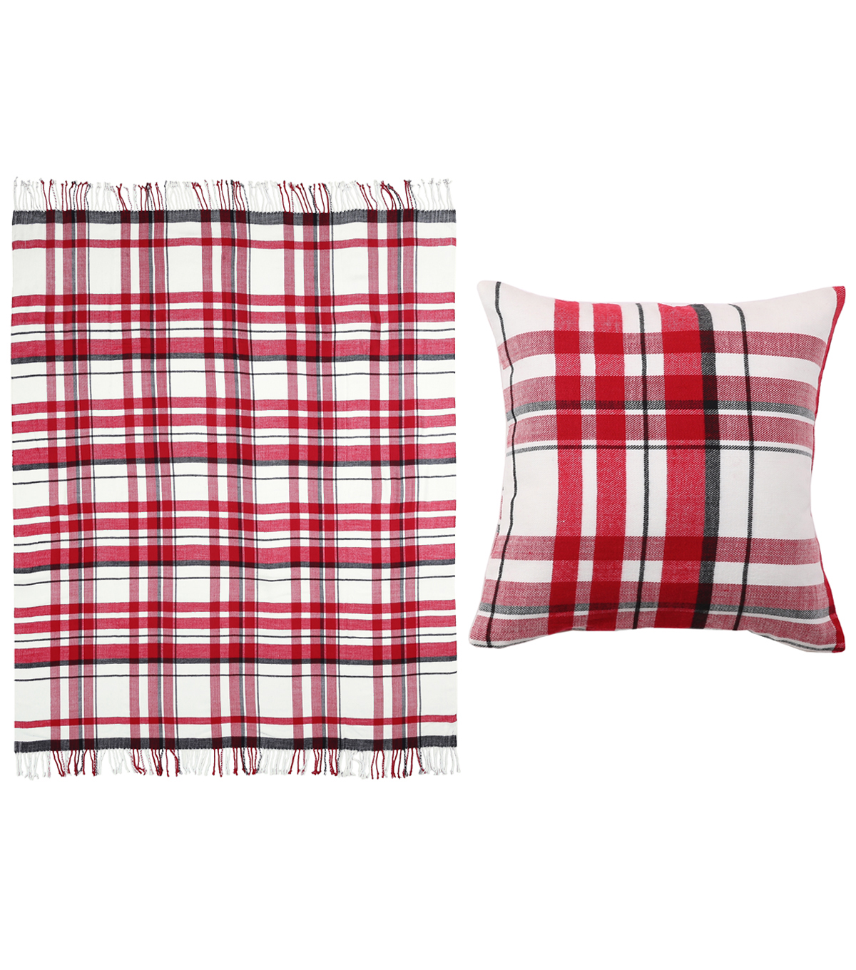 Maker\u0027s Holiday Christmas Throw & Pillow Set-Red & White Plaid