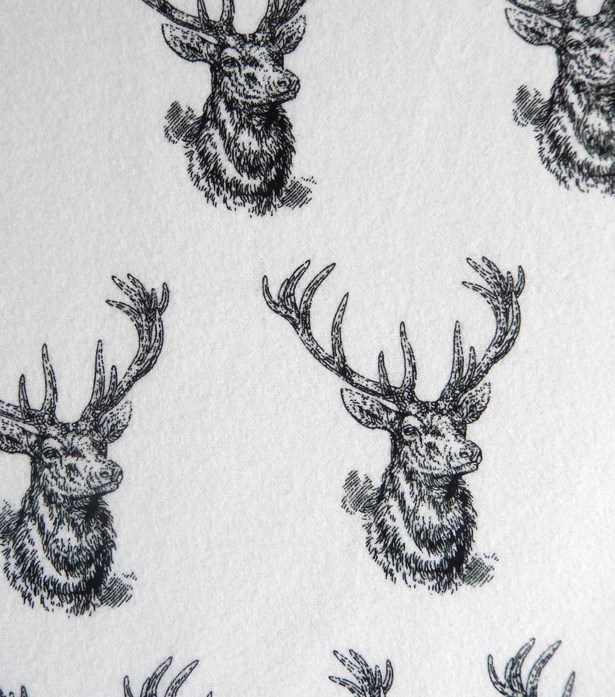 "Snuggle Flannel Fabric 42""-Bw Deer Heads"