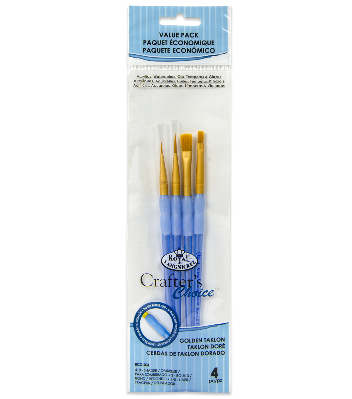 Royal & Langnickel Variety Brush Set 4pk-Golden Taklon