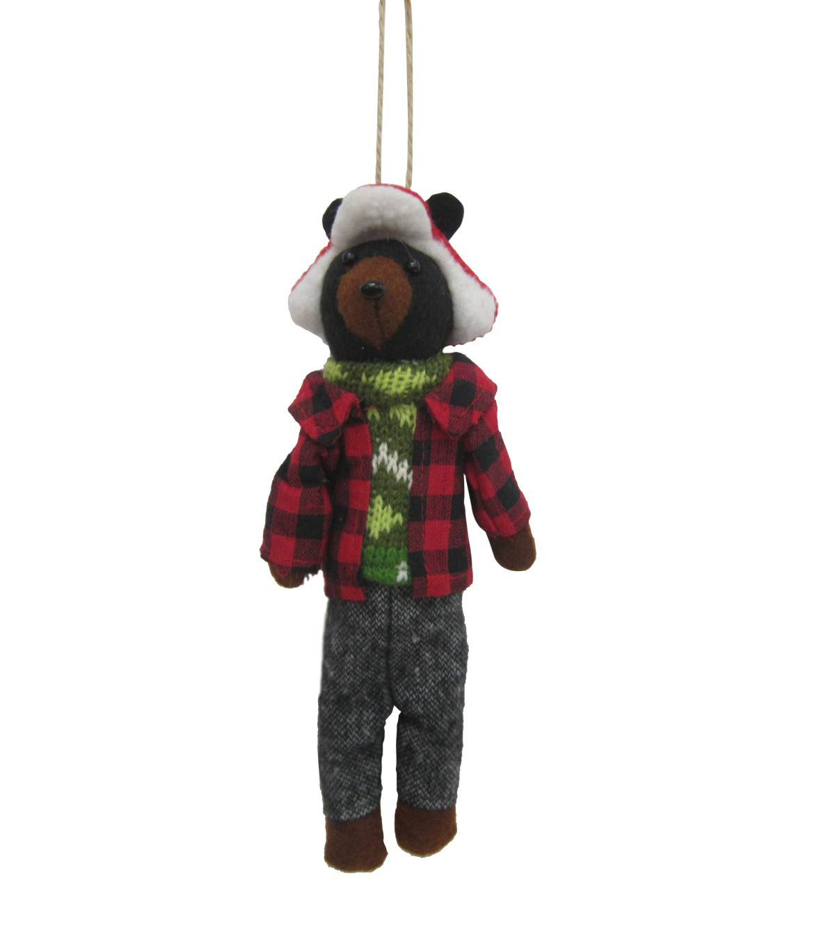 Maker's Holiday Christmas Woodland Lodge Hipster Dressed Bear Ornament