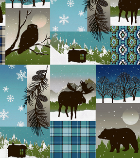 Anti-Pill Fleece Fabric 58\u0022-Framed Wilderness Plaid Patch
