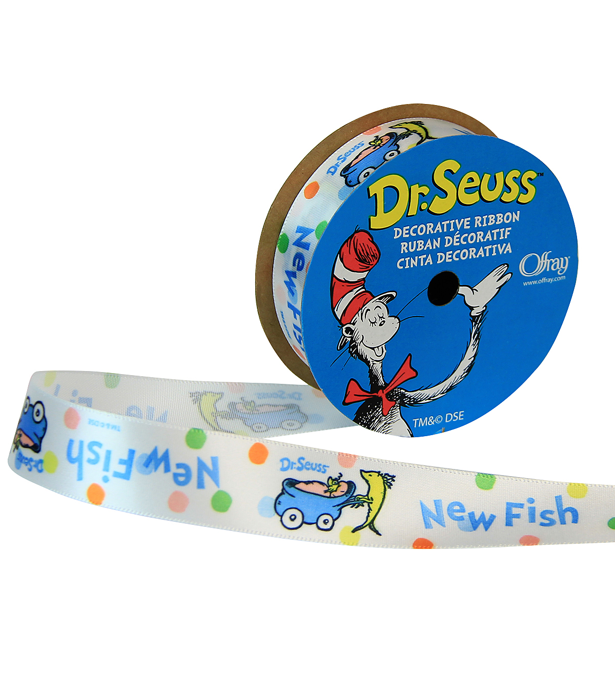 "Offray 7/8""x9' Babyfish Dr Seuss Character Single Faced Satin Ribbon-Multi"