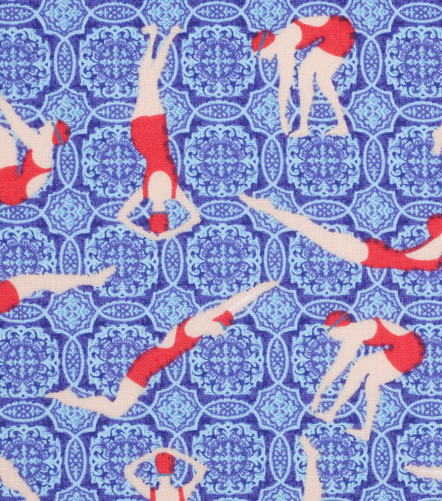 Novelty Cotton Fabric 43\u0022-Swimmers & Divers