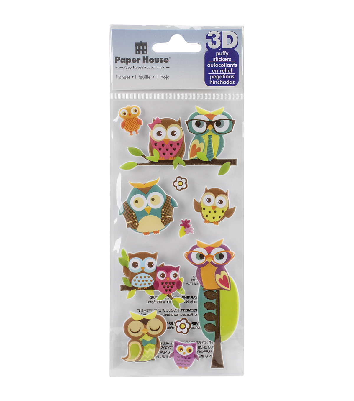 Paper House® Puffy Stickers-Owls