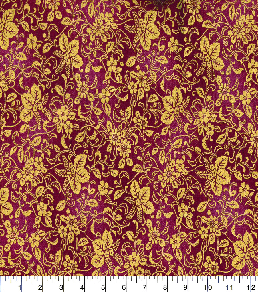 "Asian Inspired Cotton Fabric 43""-Floral Vines Dark Pink Metallic"