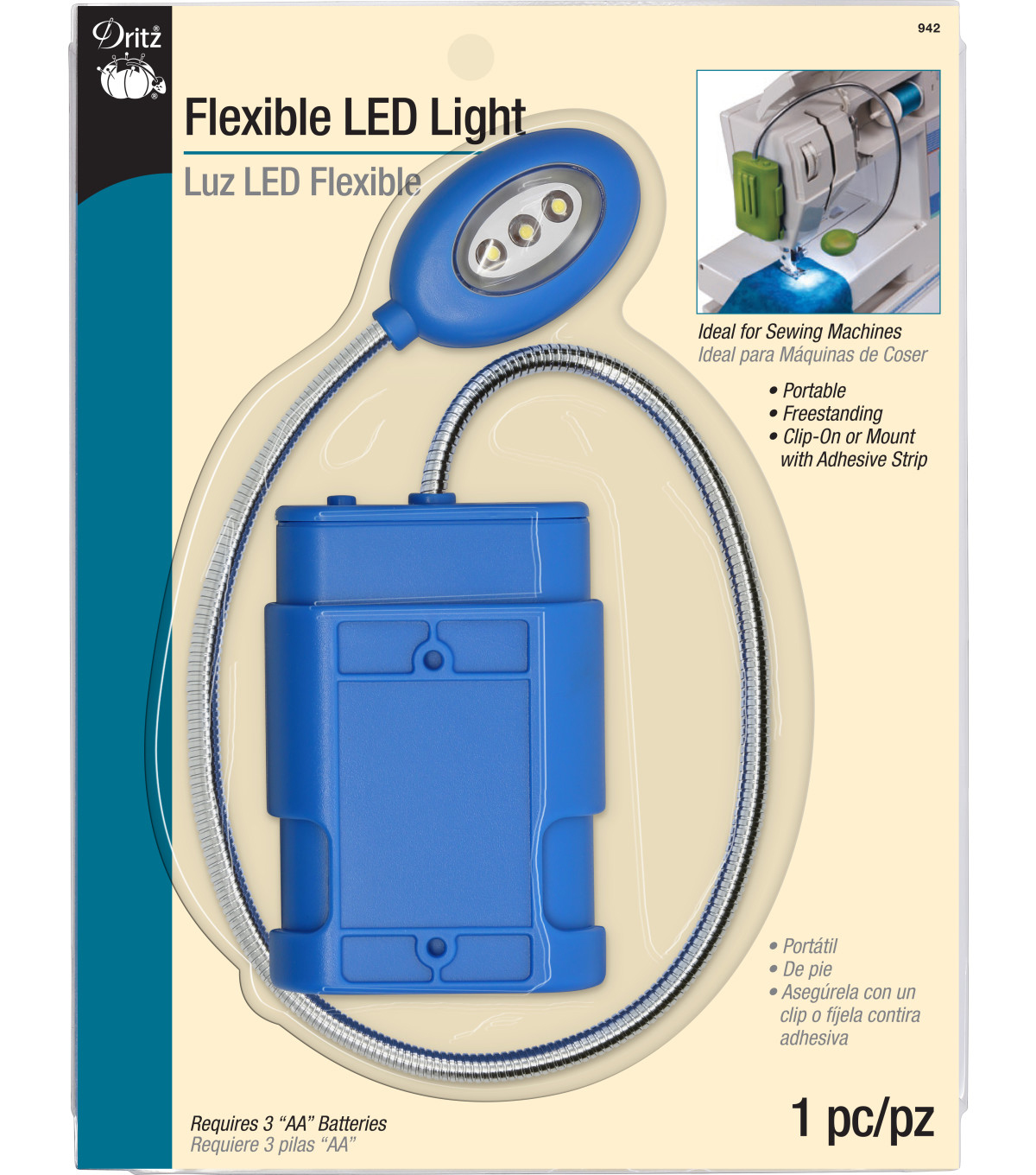 Dritz Flexible LED Light-Assorted Colors-Teal, Raspberry, Purple