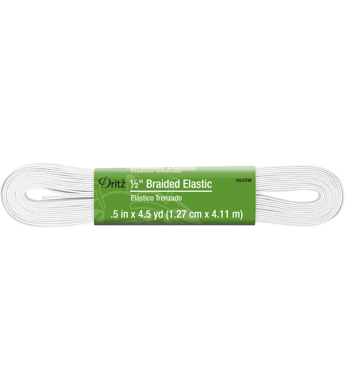 "Dritz 1/2"" Braided Elastic 4.5Yds White"